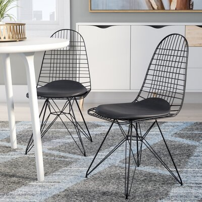 Maplewood Dining Chair (Set of 2) Upholstery Color: Black, Frame Color: Black