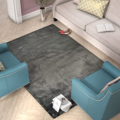 Delroy Hand-Tufted Dark Gray Area Rug Rug Size: Rectangle 5 x 7