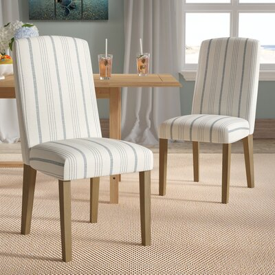 Lake Kathryn Stripe Parsons Chair Finish: Honey Oak, Upholstery: Blue