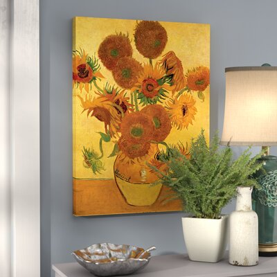 'Vase with Fifteen Sunflowers' by Vincent Van Gogh Painting Print on Canvas Size: 32
