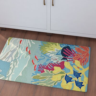Clowers Ocean View Hand-Tufted Blue Indoor/Outdoor Area Rug Rug Size: Rectangle 76 x 96