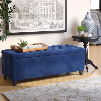 Alcott Hill Bretton Upholstered Storage Bench Upholstery: Navy