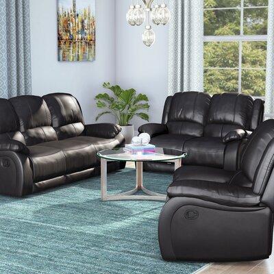 Juan 3 Piece Leather Living Room Set Upholstery: Black