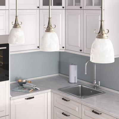 Weatherly 1-Light Mini Pendant Finish: Antique Brushed Nickel, Shade Color: Etched White Alabaster