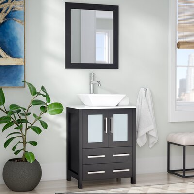 Kogan 24 Single Bathroom Vanity Set with Mirror Base Finish: Espresso