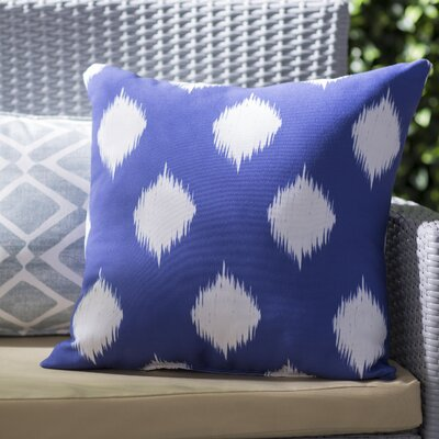 Jaclyn Geometric Print Outdoor Throw Pillow Color: Blue Suede, Size: 18 H x 18 W x 1 D