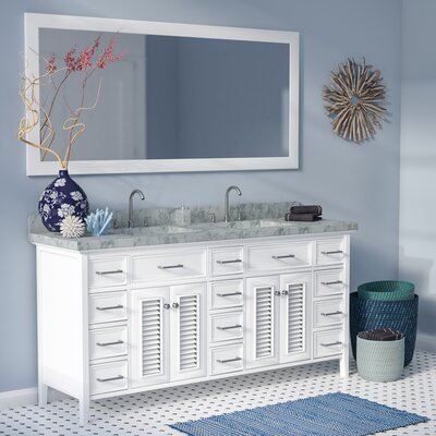 Hamil 73 Double Bathroom Vanity Set with Mirror Base Finish: White