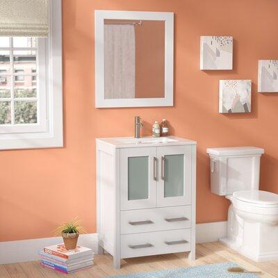 Lezlie 24 Single Bathroom Vanity Set with Mirror Base Finish: White
