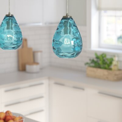 Bradsher 1-Light Mini Pendant Finish: Satin Nickel/Aqua