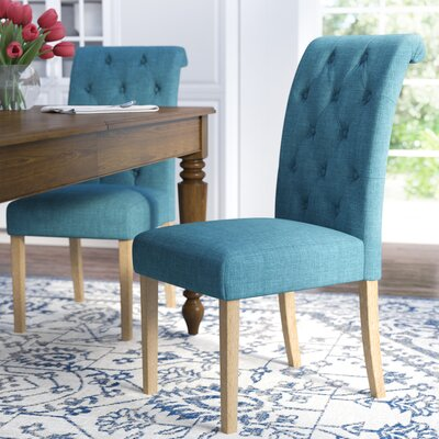 Kenleigh Solid Wood Button Tufted Side Chair Upholstery: Blue