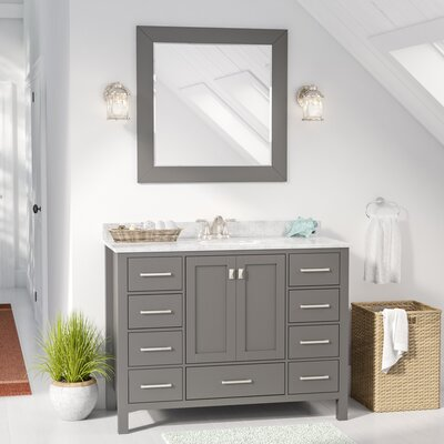 Newtown 48 Single Vanity Set with Mirror Base Finish: Gray