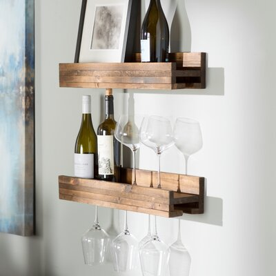 Bernon 5 Bottle Wall Mounted Wine Bottle Rack Finish: Dark Walnut
