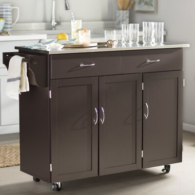 Garrettsville Kitchen Island with Stainless Steel Top Base Finish: Espresso