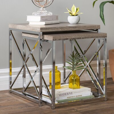 Baez 2 Piece Nesting Tables Color: Dark Taupe