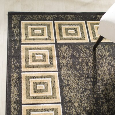 Miltonsburg Black Area Rug Rug Size: Rectangle 37 x 52