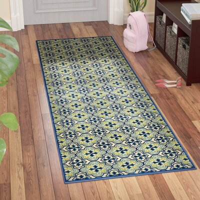 Meriden Hand-Woven Blue Indoor/Outdoor Area Rug Rug Size: Runner 26 x 71