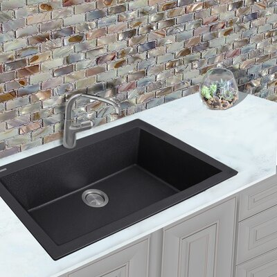 Plymouth 33 x 22 Drop-In Kitchen Sink Finish: Black
