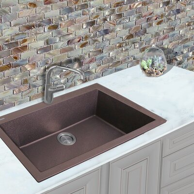 Plymouth 33 x 22 Drop-In Kitchen Sink Finish: Brown