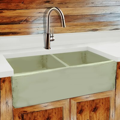 Vineyard 33 x 18 Double Basin Farmhouse Kitchen Sink Finish: Shabby Green
