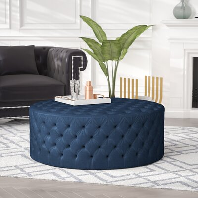 Darcella Round Ottoman Upholstery: Blue Velvet