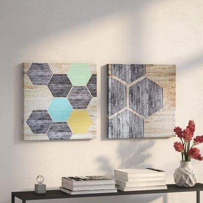 Hexagon Puzzle 2 Piece Graphic Art Print Set on Canvas GOLV1006 38354375