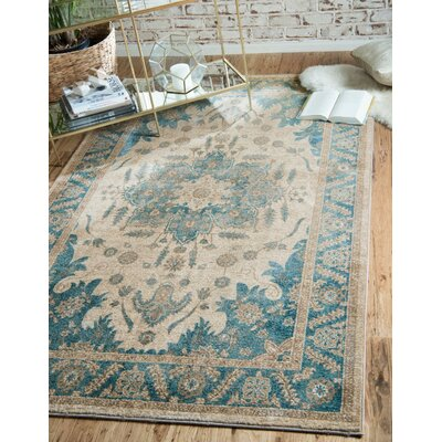 Jaiden Cream/Blue Area Rug Rug Size: Square 4