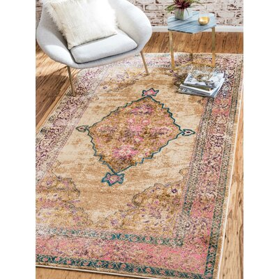 Charlena Beige Area Rug Rug Size: Rectangle 9 x 12