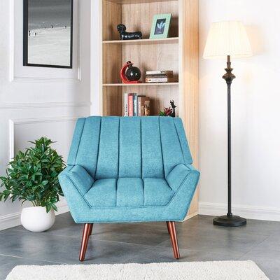 Houston ArmChair in Plush Low-Pile Velvet Color: Blue/Green