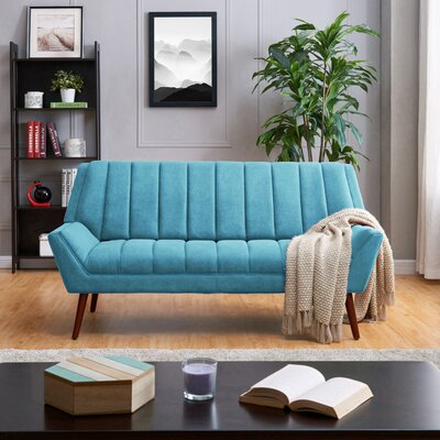 Houston Mid Century Modern Arm Sofa in Plush Low-Pile Velvet Upholstery: Blue/Green