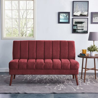 Houston Mid Century Modern Armless Loveseat in Plush Low-Pile Velvet Color: Red