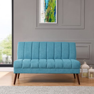 Houston Mid Century Modern Armless Loveseat in Plush Low-Pile Velvet Color: Blue/Green