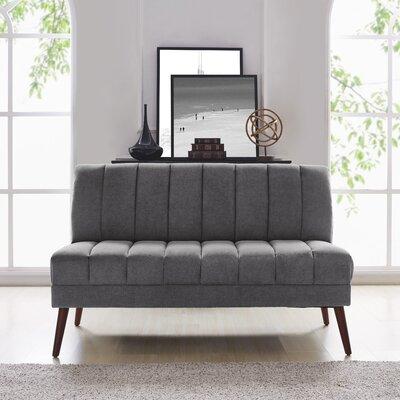 Houston Mid Century Modern Armless Loveseat in Plush Low-Pile Velvet Color: Dark Gray