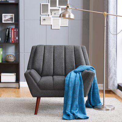 Houston ArmChair in Plush Low-Pile Velvet Color: Dark Gray