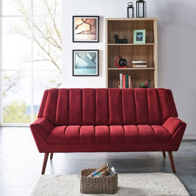 Houston Mid Century Modern Arm Sofa in Plush Low-Pile Velvet Upholstery: Red