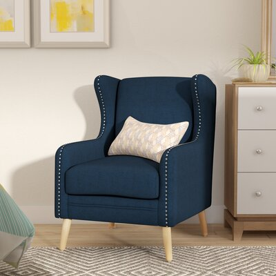 Coombs Wingback Chair Upholstery: Navy Blue