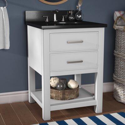 Martina 25 Single Bathroom Vanity Set Base Finish: White, Top Finish: Black Granite
