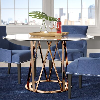 Mayall Round Metal Dining Table Finish: Rose Gold