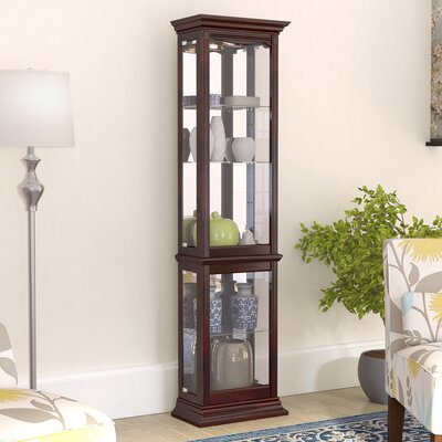 Maywood Lighted Curio Cabinet Color: Brown