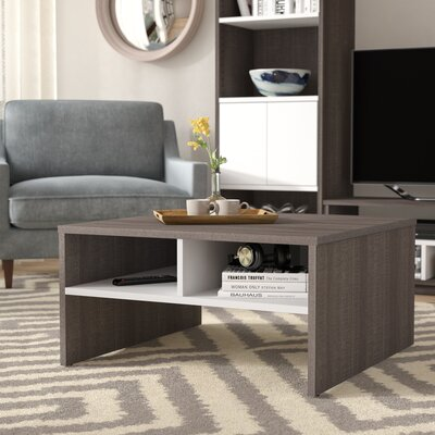 Frederick Storage Coffee Table with Magazine Rack Color: Dark Gray/White