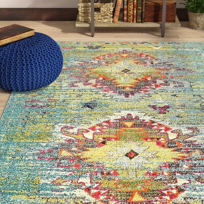 Glenn Turquoise Area Rug Rug Size: Rectangle 9 x 12