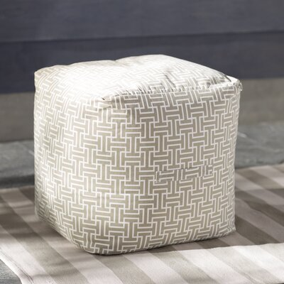 Lysistrate Cube Pouf Ottoman Upholstery: Greige/White