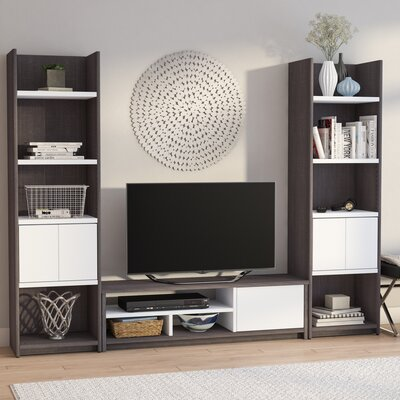 Frederick Entertainment Center Color: Dark Gray/White