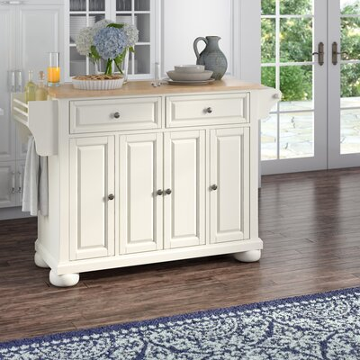 Pottstown Kitchen Island with Wood Top Base Finish: White