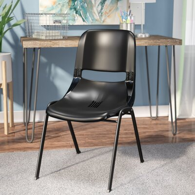 Flora Ergonomic Shell Stack Guest Chair Seat Finish: Black