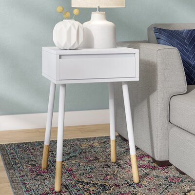 Backlund End Table with Storage Color: White