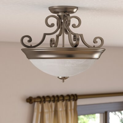Bienville Three Arm Basic 2-Light Semi Flush Mount Finish: Brushed Nickel