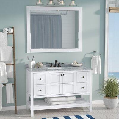 Caldwell 48 Single Bathroom Vanity Set with Mirror Base Finish: White