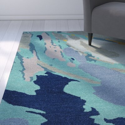 Villa Hand-Tufted Green/Blue Area Rug Rug Size: Rectangle 5 x 76