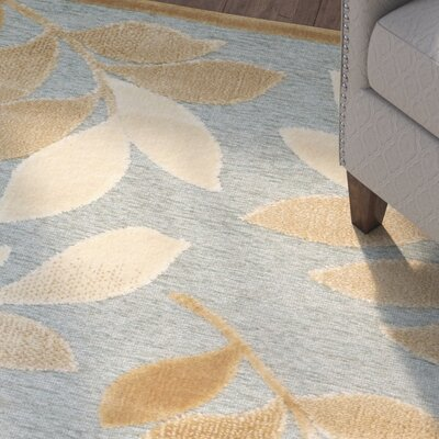 Sorensen Leafy Glade Geyser/Gold Area Rug Rug Size: Rectangle 27 x 4