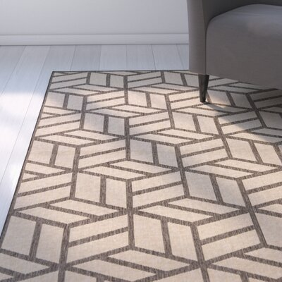 Kaliyah Beige/Black Indoor/Outdoor Area Rug Rug Size: Rectangle 76 x 96